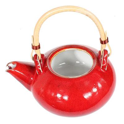 Tekanna i keramik - Röd med två koppar
